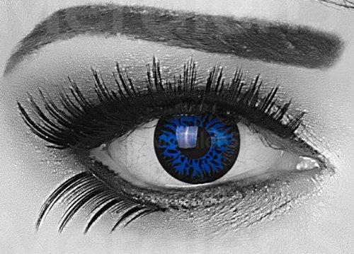 Blue Demon Farbige Funnylens Crazy Fun Dunkelblau Schwarz Blau Kontaktlinsen perfekt zu Fasching, Karneval Halloween Anime Manga oder zum Alltag mit gratis Behälter und 60ml Pflegemittel Topqualität zu jedem Event geeignet.