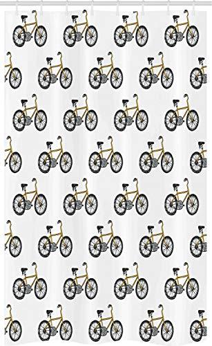 ABAKUHAUS Karikatur Schmaler Duschvorhang, Gelbes Fahrrad-Muster, Badezimmer Deko Set aus Stoff mit Haken, 120 x 180 cm, Senf Schwarz