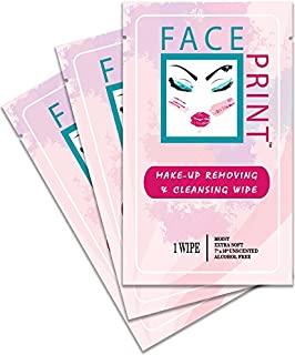 Face Print - Body Wipe Company - Premium makeup removing wipes - Facial cleansing on the go towelettes - 12 Individual Packs
