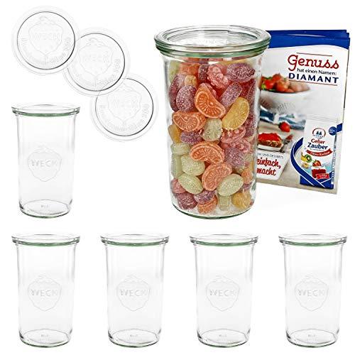 MamboCat 6er Set Weckgläser Sturzglas mit Deckel 1000 ml I Original Weck Sturzglas Dessertglas I Einweckgläser mit Deckel für Kuchen Gelees UVM I inkl. Diamant-Zucker Gelierzauber Rezeptheft