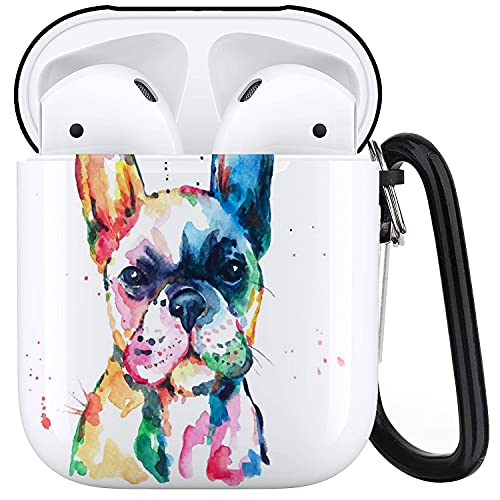 MATEKULI Case Cover Compatible with AirPods,Head Frenchie French Bulldog Original Watercolor Dog Wildlife Rainbow Funny Happy Puppy Companion,Protective Portable Travel Headphone Cases with Keychain