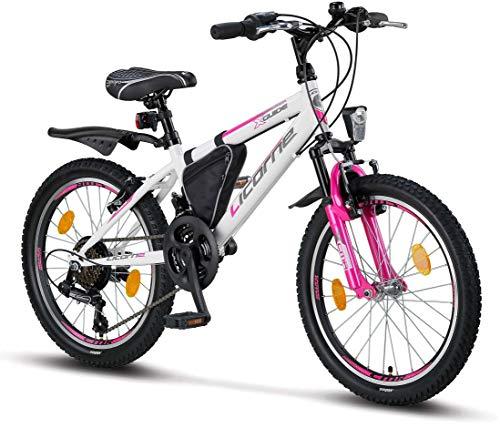 Licorne Bike Guide (Weiß/Rosa, 20), 20 Zoll Mountainbike,geeignet für 6,7,8, 9 Jahre,Shimano 18 Gang-Schaltung,Gabelfederung,Kinderfahrrad,Jungenfahrrad, Mädchenfahrad, MTB,Rahmentasche
