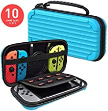 MEQI Nintendo Switch Carrying Case Protective Hard Shell Slim Travel Carry Case -10 Game Cartridge Holders Portable Carry Case Pouch for Nintendo Switch Console & Accessories - Blue