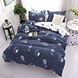 JQWUPUP Galaxy Planet Duvet Cover Set Single, 3Pcs Bedding Quilt Cover Set with Pillowcases for Teens Kids Boys Girls, Durable Microfiber (Single, Universe)