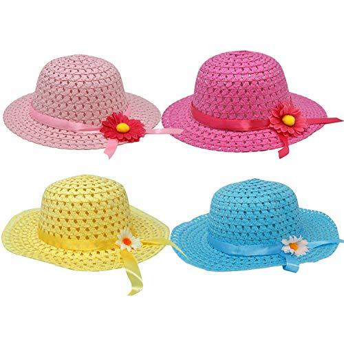 Lowest Price! 4 Girl Tea Party Hats Girls Straw Hat for Kids Costume Easter Princess Toddler Childre...
