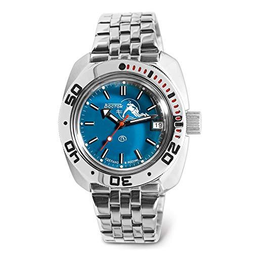 VOSTOK | Scuba Dude Amphibian Automatic Self-Winding Russian Military Diver Wrist Watch | WR 200 m | Fashion | Business | Casual Men's Watches | Model 710059 Steel Bracelet B