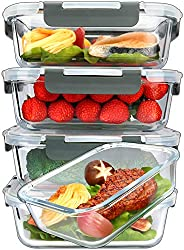 in budget affordable [5-Packs, 36 Oz.]  Cooked glass food in a glass container with a durable snap lid …