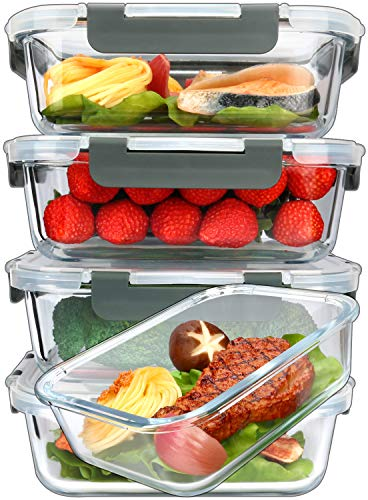 5Packs 36 Oz Glass Meal Prep Containers with Lifetime Lasting Snap Locking Lids Glass Food ContainersAirtight Lunch ContainerMicrowave Oven Freezer and Dishwasher 45 Cup