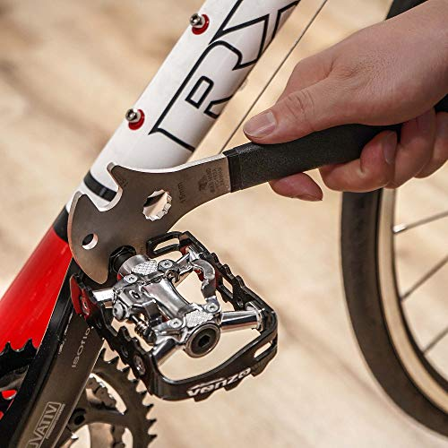 BIKEHAND Bicycle Bike Pedal Wrench Extra Heavy Duty Handle - Great Road Mountain Bike Pedal Removal Tool Spanner - 15mm - Angled