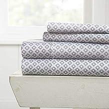 مجموعة ملاءات سرير من هوم كوليكشن iEnjoy Home Hotel Collection Premium Ultra Soft Polaris Pattern 4 قطع، مقاس King، رمادي