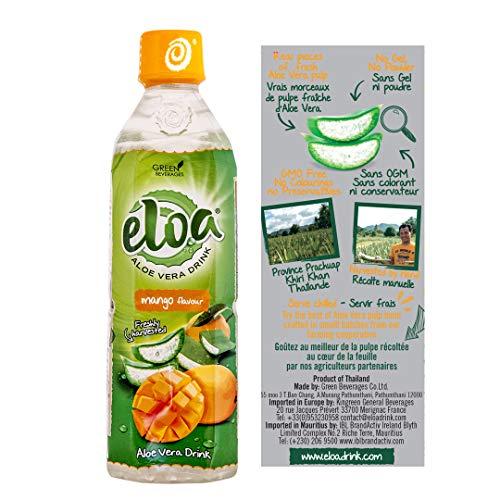 ELOA - Conventional Aloe Vera Drink - Boisson à l'Aloe Vera - Mango Flavour - Saveur Mangue (12 bottle case - carton de 12 bouteilles)