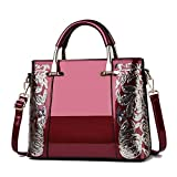 N\C Fashion Retro Handbag Simple Atmosphere Bright Leather One Shoulder Messenger Bag Suitable For Women Shopping, Dating, Travel and Various Occasions