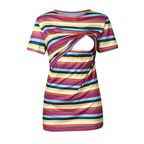 Harpily Magliette Premaman T-Shirt Moda Doppio Strato Top Gilet Magliette Allattamento Maglia Camicetta O-Collo Maniche Corte c