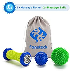 Foot Massage Roller and Massage Balls for Plantar Fasciitis, Fan Plug Fascia Ball Roller & Balls Set, Pain Relief for Heel & Arch, Stress Reduction and Relaxation by Trigger Point Therapy