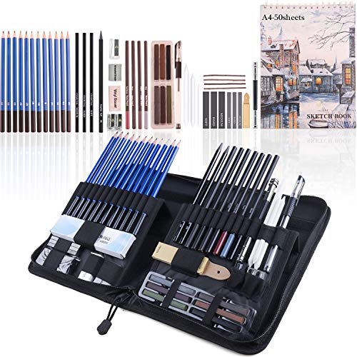 Merooart 49-piece professional drawing pencil set complete art sketching set, suitable for beginners and professional painters, with colored crayons, charcoal, graphite and sketchbooks