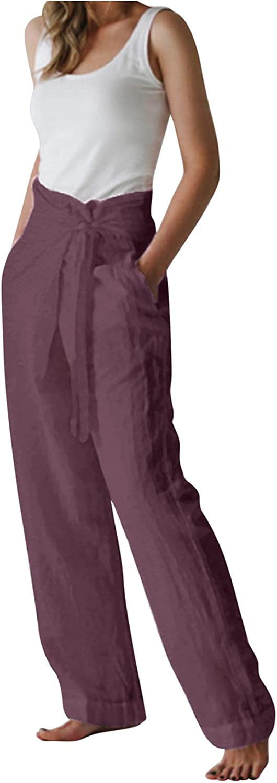 ZAKIO Women's Casual Cotton Linen Pants High Waist Wide Leg Pants Loose Fit Yoga Trousers with Waistband Plus Size M-3XL