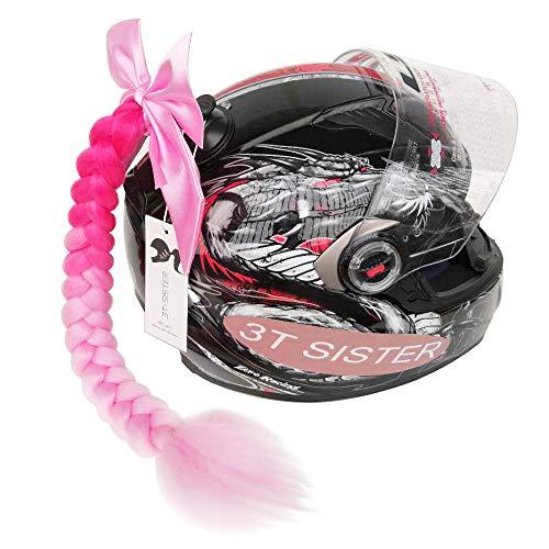3T-SISTER Bowknot Helm geflochtener Pferdeschwanz Motorrad Fahrrad Helm Haar Zöpfe Haarteile für Erwachsene