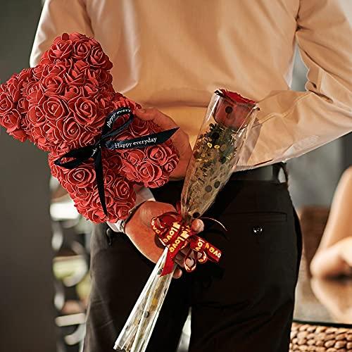yidexin Rose Bear, 9.8inches Romantic Valentines Birthday Day Gift, Creative Light String Big Hug Bear Gift Rose Bear, Grey Silk Flower Arrangements