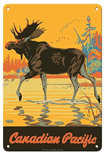 Canada - Élan - Chemin de fer Pacifique Canadien - Affiche ferroviaire de Thomas (Tom) Hall c.1930s Plaque d'art en métal 20 x 30cm
