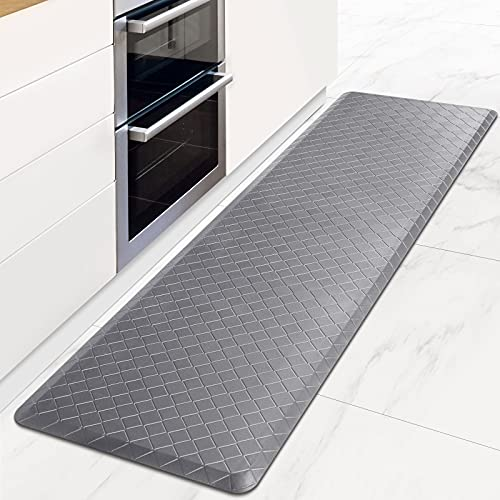HappyTrends Kitchen Mat Cushioned Anti-Fatigue Floor Mat,17.3'x 60',Thick Waterproof Non-Slip Kitchen Mats and Rugs Heavy Duty Ergonomic Comfort Rug for Kitchen,Floor,Office,Sink,Laundry,Grey