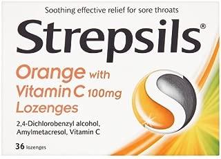 Strepsils Orange with Vitamin C 100mg 36 Lozenges by Strepsils