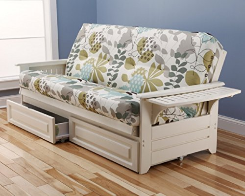 Philadelphia White Futon Frame w/ Trays w/ 8 Inch Innerspring Mattress Premium w/ Drawer Set Sofa Bed Full Size (English Garden)