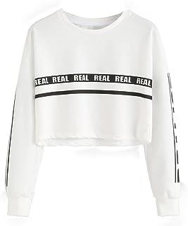 WomenSweatshirtCrop Top Pullover Lady Letter LongSleeveBlouseSweatshirtTops