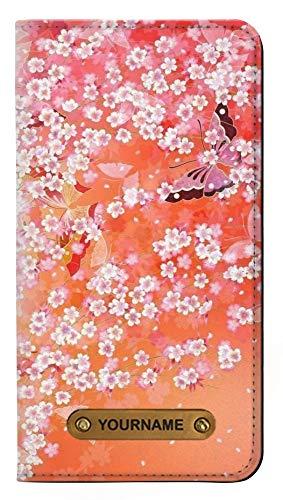 Innovedesire Japanese Kimono Style Flower Pattern Caso del Tirón Funda Carcasa Case para iPhone 11 y Personalizó su Nombre en la Etiqueta de Cuero