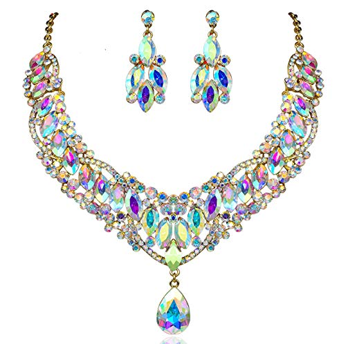 Janefashions Bright AB White Austrian Rhinestones Crystal Bib Statement Necklace Dangle Earrings Bridal Jewelry Set Party Prom Pageant Teardrop Sexy Twinkling Gold Tone N929ab Crystal Bib Statement Necklace