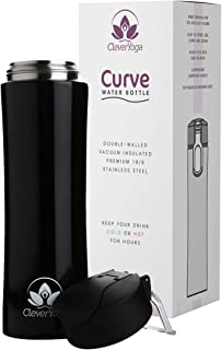 Clever Yoga Stainless Steel Water Bottle - Double Wall Vacuum Insulated Bottles - Thermal Flask Keeps Drinks Hor or Cold -...