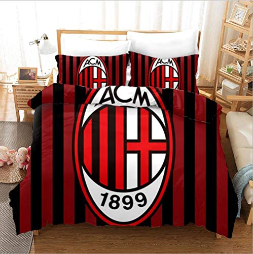 gaodashang Copripiumino Calcio Badge Biancheria da Letto 3D Kit Tessili per la casa in Tre Pezzi-AC Milan-Double (180 * 220) -AC Milan