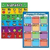 preschool birthday chart - 2 Pack - ABC Alphabet & Birthday Calendar Poster Set (Laminated, 18