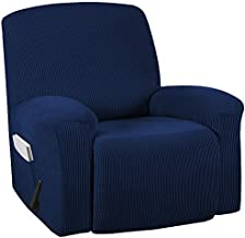 Turquoize Stretch Recliner Cover Recliner Chair Cover Recliner Slipcover 1-Piece Sofa Cover with Side Pocket Jacquard Sofa Furniture Cover/Protector Soft with Elastic Bottom, Machine Washable, Navy