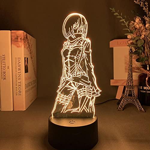 3D Illusion Lamp Mood Led Night Light Attack On Titan Mikasa Ackerman Figures Kids for Change Color Anime-No Remote