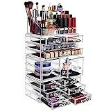 FOBUY Caja acrílica Estante de maquillajes Maquillaje Cosméticos Joyería Organizador (12 Drawers)