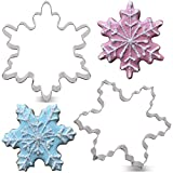 LILIAO Christmas Winter Snowflake Cookie Cutter Set - 2 Piece - 4 and 3.7 inches - Stainless Steel