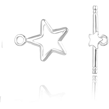 2 pcs sterling silver star of david round link connector 13mm