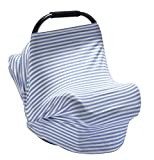 PPOGOO Nursing Cover for Breastfeeding Super Soft Cotton Multi Use for Baby Car Seat Covers Canopy Shopping Cart Cover Scarf Light Blanket Stroller Cover (Blue Stripe)