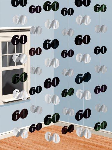 Amscan - Guirlandes anniversaire 60 ans noires et argent (x6)
