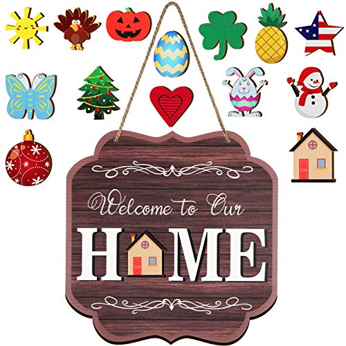 Jetec Seasonal Welcome Door Sign Interchangeable Welcome to Our Home Hanging Sign Wood Front Door Wall Decoration with 14 Seasonal Hanging Ornament for Christmas Halloween Easter Holiday