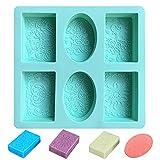 Moldes Hacer Jabón 6 Cavidades Moldes de Silicona Forma de Jabón Rectangular y Ovalada Moldes para Jabones Artesanales para Hacer Barra de Jabón Resina Chocolate Velas de Jabón (verde)