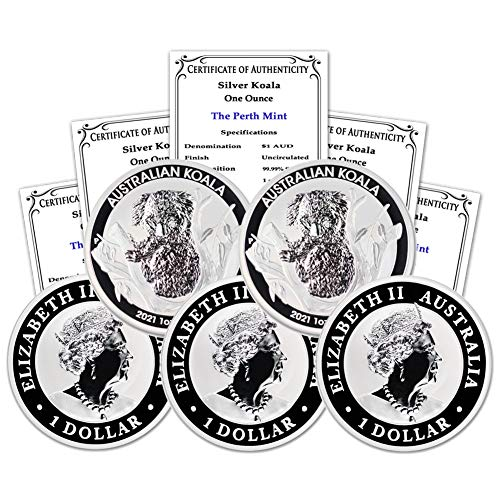2021 AU Lot of (5) 1 oz Silver Koala Coins Brilliant Uncirculated with Certificates of Authenticity by CoinFolio $1 BU