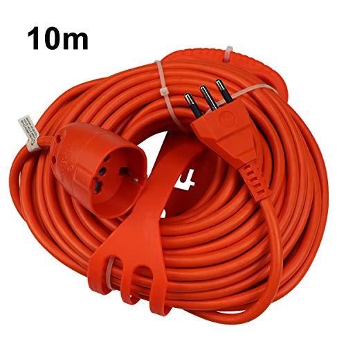 Extrastar Prolunga Da Giardino Con Pratico Supporto Spina Grande 16 A Presa Pluristandard Sezione Cavo 3 x 1,5 mm² Arancio 10 Meter.
