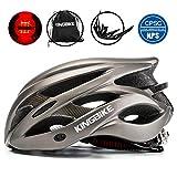 KINGBIKE 自転車 ヘルメット 大人 ジュニア用 ロードバイク サイクリング ヘルメット 超軽量 高剛性 LEDライト・ヘルメットレインカバー付き 男女兼用 56-60CM M/L(ゴールド)