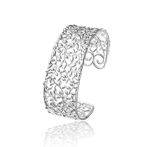 Nykkola atemberaubende solide 925 Sterling Silber, beschichtete Mode-Stil, Blatt Armband, klassischer, offener Armreif