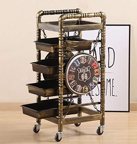 Carrello Portaoggetti Parrucchiere Con Ruote, Carrello Portavivande Da Salone Vintage/Con 5 Cassetti Asciugacapelli Titolare/Tutto in metallo,F