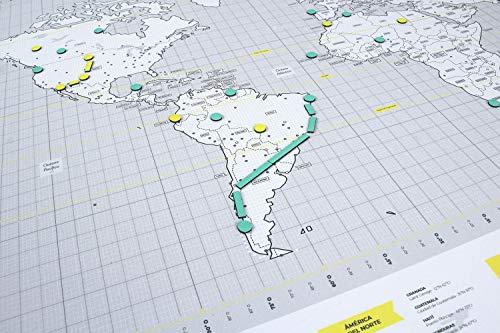 Mapnético Mapamundi magnético de diseño con imanes. Señala Tus Viajes por el Mundo. 60×42 cm