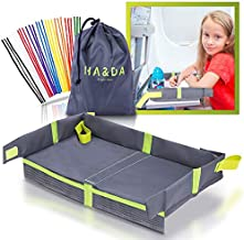 Foldable Kids and Adults Travel Tray, Cover for Airplane Tray Table, For Activities, Games and Meals. Use on plane or Train, Toddlers and Children, Unisex - Compact Light Portable - With Fun Chenille Pipe