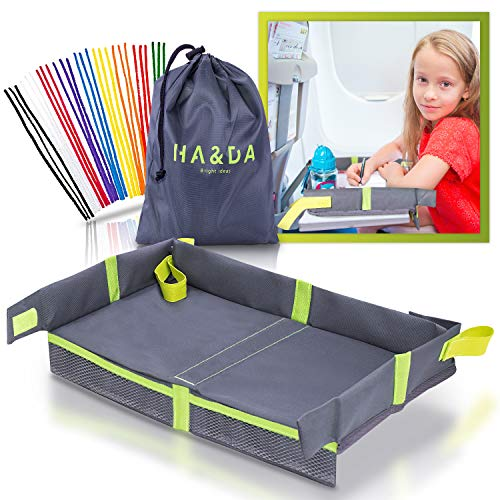 Foldable Kids and Adults Travel Tray, Cover for Airplane Tray Table, For Activities, Games and Meals. Use on plane/Train, Toddlers and Children, Unisex - Compact Light Portable - W/Fun Chenille Pipe