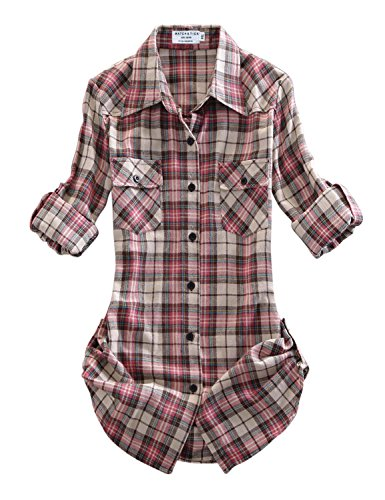 Matchstick Damen Flanell Kariert Shirt #B003(2021 Checks#9,XX-Large(Fit 43''-45''))